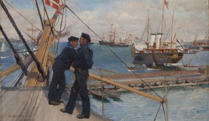 Albert Edelfelt, Kööpenhaminan ankkuripaikalta III, 1890, öljyväri kankaalle, Gösta Serlachiuksen taidesäätiö. Kuva: Tomi Aho