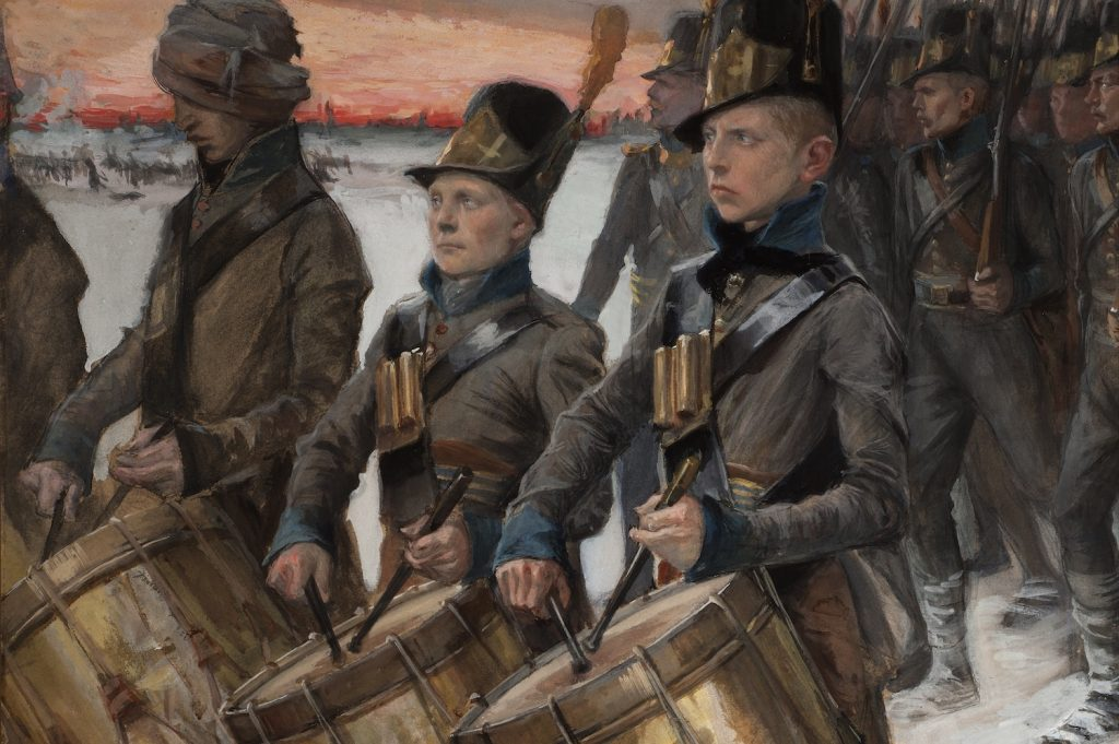 Albert Edelfeltin teos, Porilaisten marssi (1892).