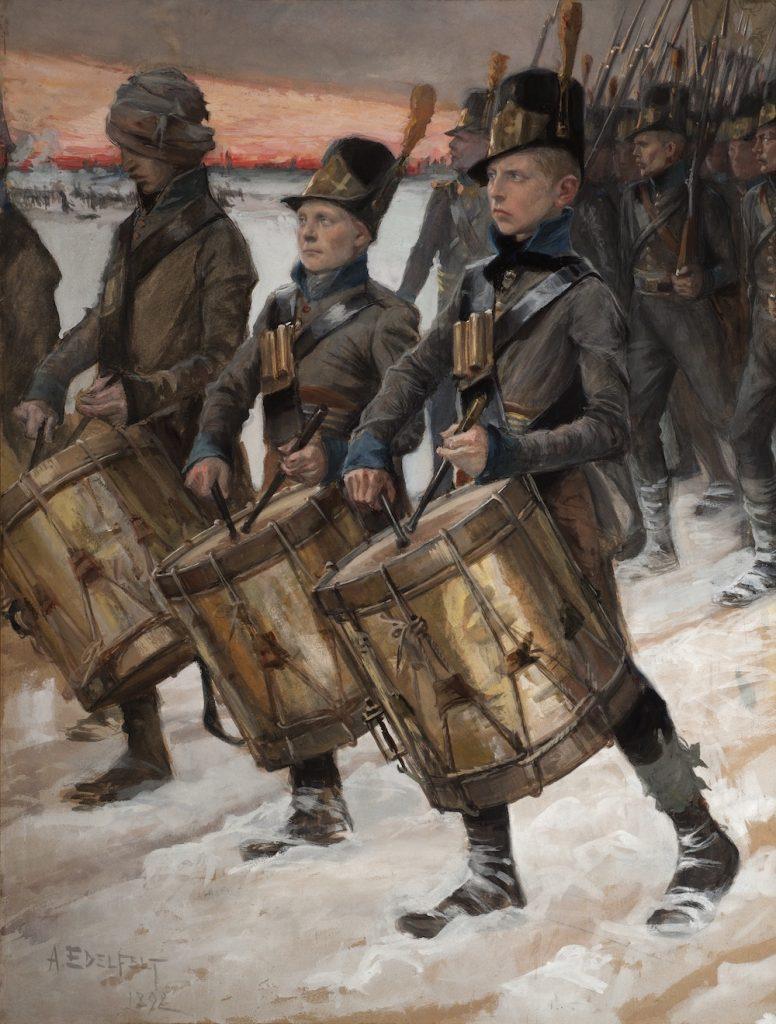 Albert Edelfelt, Björneborgarnas marsch, 1892, gouache på papper. Gösta Serlachius konststiftelse.