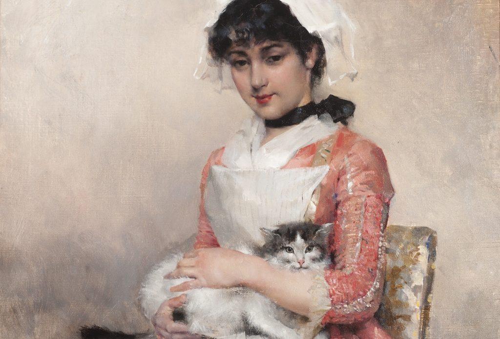 Albert Edelfeltin teos, Tyttö ja kissa, 1881.