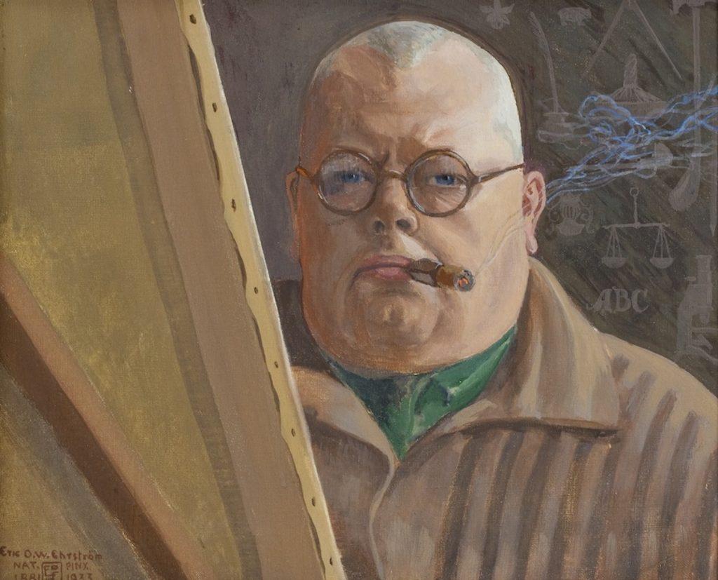 Eric O. W. Ehrström, Självporträtt 1933, gouache på papp, Gösta Serlachius konststiftelse. Foto: Tomi Aho