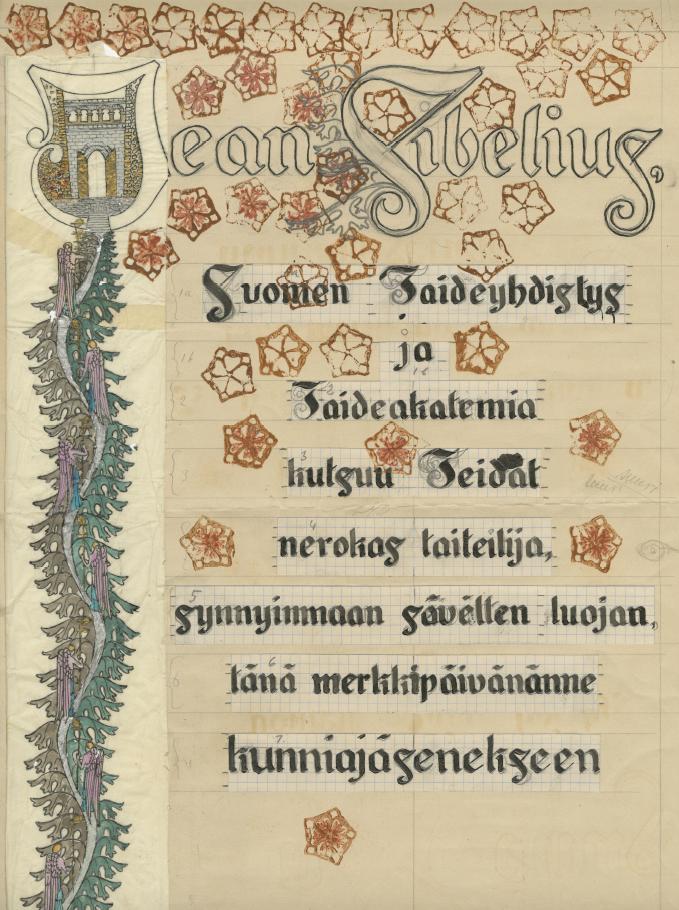 Eric O. W. Ehrström, Sibeliuksen kunnia-adressi, 1925, Gösta Serlachiuksen taidesäätiö.