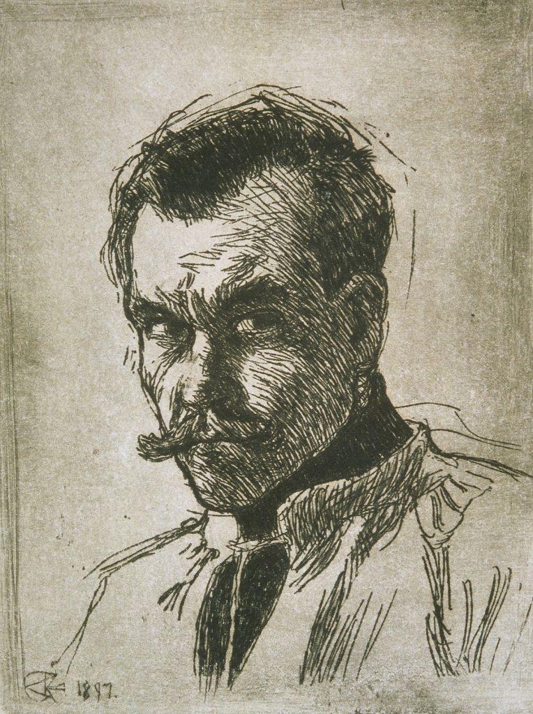 Akseli Gallen-Kallela, Självporträtt, 1897, linjeetsning, Gösta Serlachius konststiftelse. Foto: Tomi Aho.
