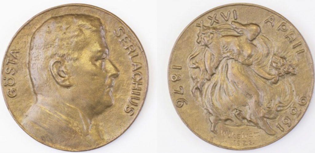 Emil Wikström, Gösta Serlachius -mitali, 1926, pronssi, Serlachius-museoiden kokoelmat.Emil Wikström, Gösta Serlachius -mitali, 1926, pronssi, Serlachius-museoiden kokoelmat.