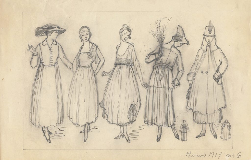 Olga Gummerus-Ehrström, fashion drawing on Suomen Kuvalehti, 1917, Gösta Serlachius Fine Arts Foundation
