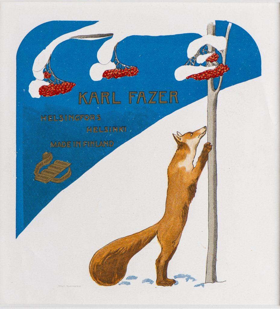 Olga Gummerus-Ehrström, etiketten för Fazers rönnbärssötsaker, början av 1900-talet, Gösta Serlachius konststiftelse.