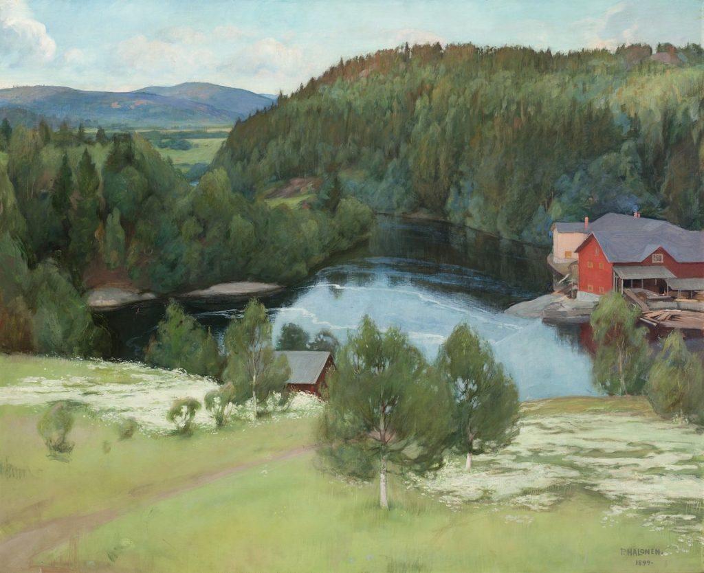 Pekka Halonen, Myllykylän saha, 1899, öljyväri kankaalle, Gösta Serlachiuksen taidesäätiö. Kuva: Vesa Aaltonen.