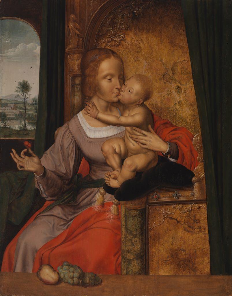 Quinten Massys, ateljé, Madonna med barnet, (Madonnan med körsbären), 1500-talet, olja på trä, Gösta Serlachius kosntstiftelse. Foto: Yehia Eweis.