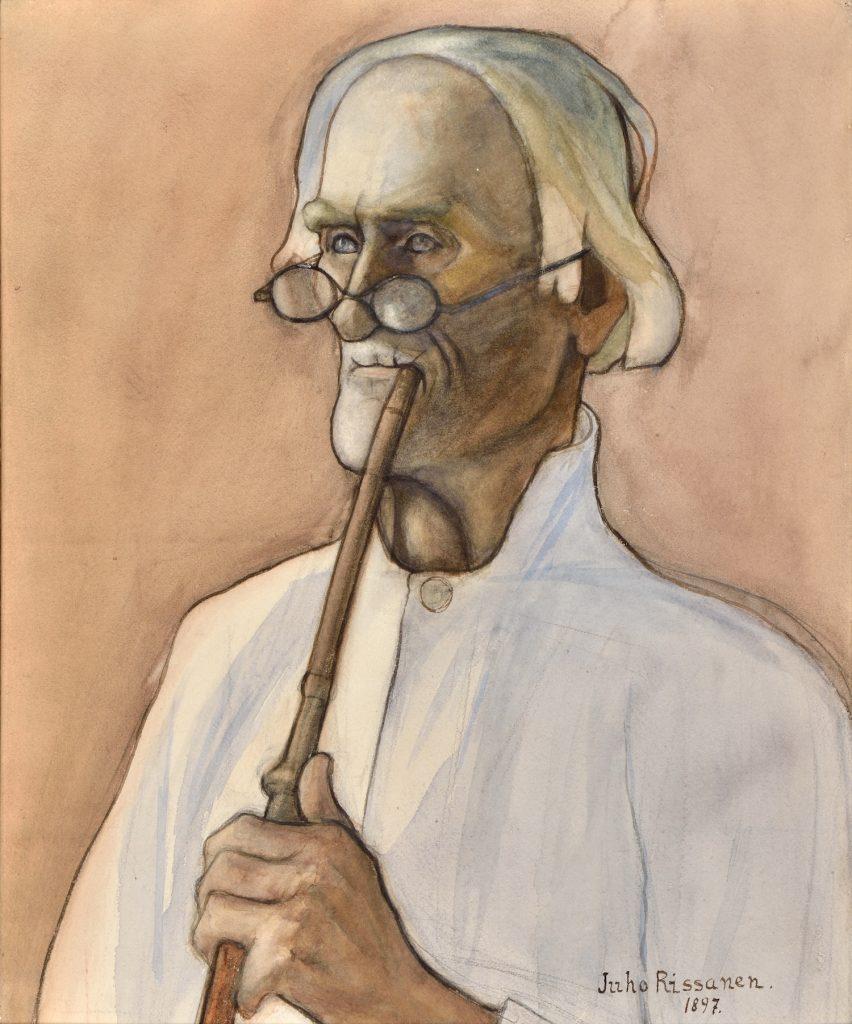 Juho Rissanen, Gubben Istolainen, 1897, akvarell och kol på papper, Gösta Serlachius konststiftelse. Foto: Hannu Miettinen.