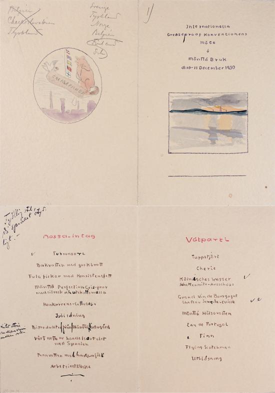 Kansainvälisen tiivispaperin valmistajien kokouksen ruokalista Mäntästä vuodelta 1930. Gösta Serlachiuksen taidesäätiö.