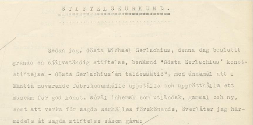 Gösta Serlachiuksen taidesäätiön säädekirja, 1933