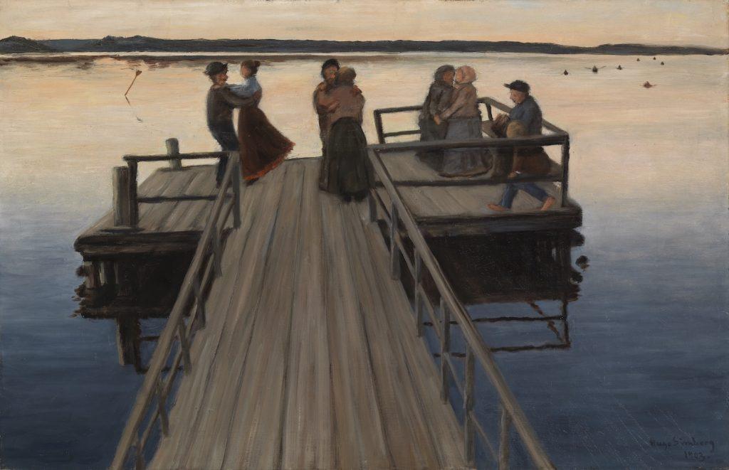 Hugo Simberg, Laituritanssit, 1903, öljyväri kankaalle, Gösta Serlachiuksen taidesäätiö. Kuva: Yehia Eweis.