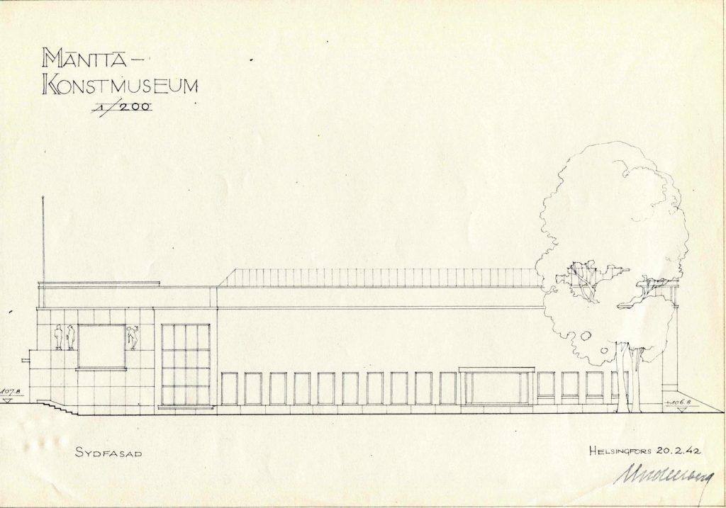 Uno Ullbergs plan för ett konstmuseum vid Koskelanlampi strand från år 1942, sydfasad.