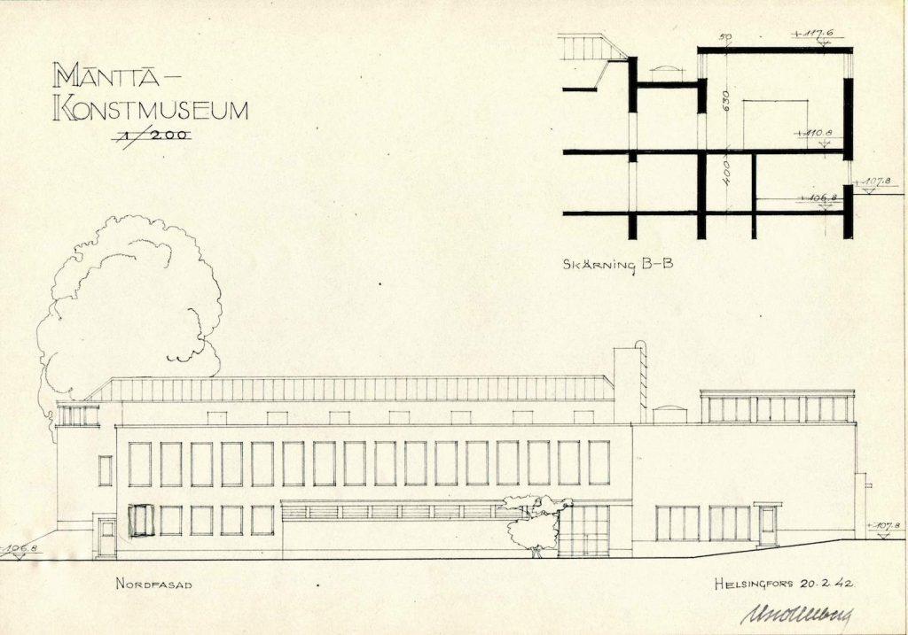 Uno Ullbergs plan för ett konstmuseum vid Koskelanlampi strand från år 1942, fasad mot norr.