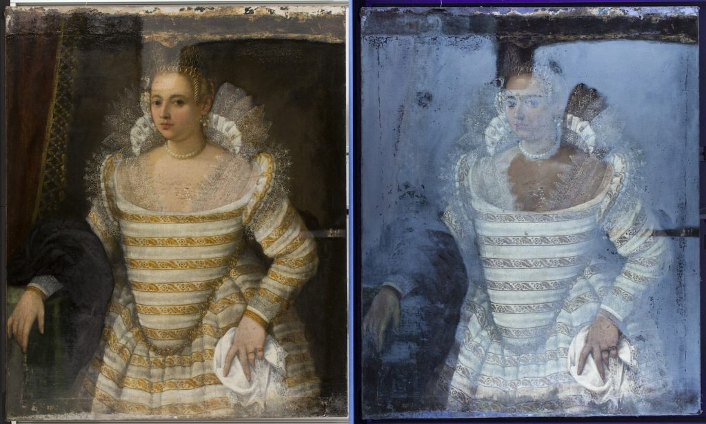 Portrait of a Young Venetian lady and an ultraviolet image on the right