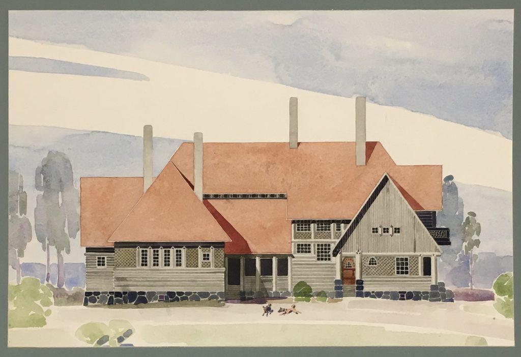 Valter Thomé och Kari Lindahl, ritning för huvudbyggnaden av Isoniemi gård 1902–1916.