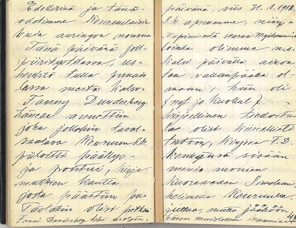 Två sidor i J. G. Riihonens anteckningshäfte från åren 1917–1918.