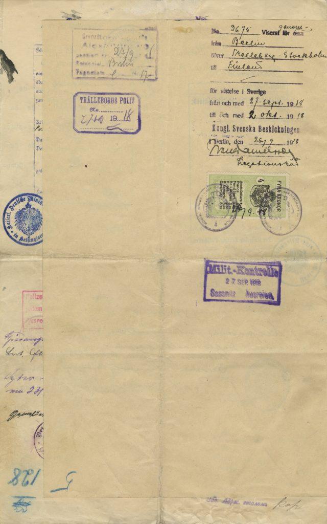 Gösta Serlachiuksen diplomaattipassi vuodelta 1918, kääntöpuoli.