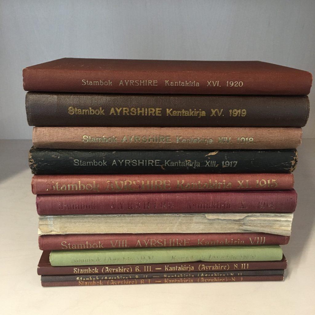 Serlachiuksen ayrshire-rotuisen nautakarjan kantakirjat. Serlachius-museoiden arkisto.