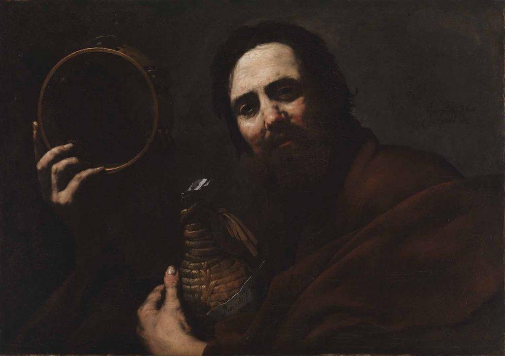 Jusepe de Ribera, Man, Wine Bottle and Tambourine