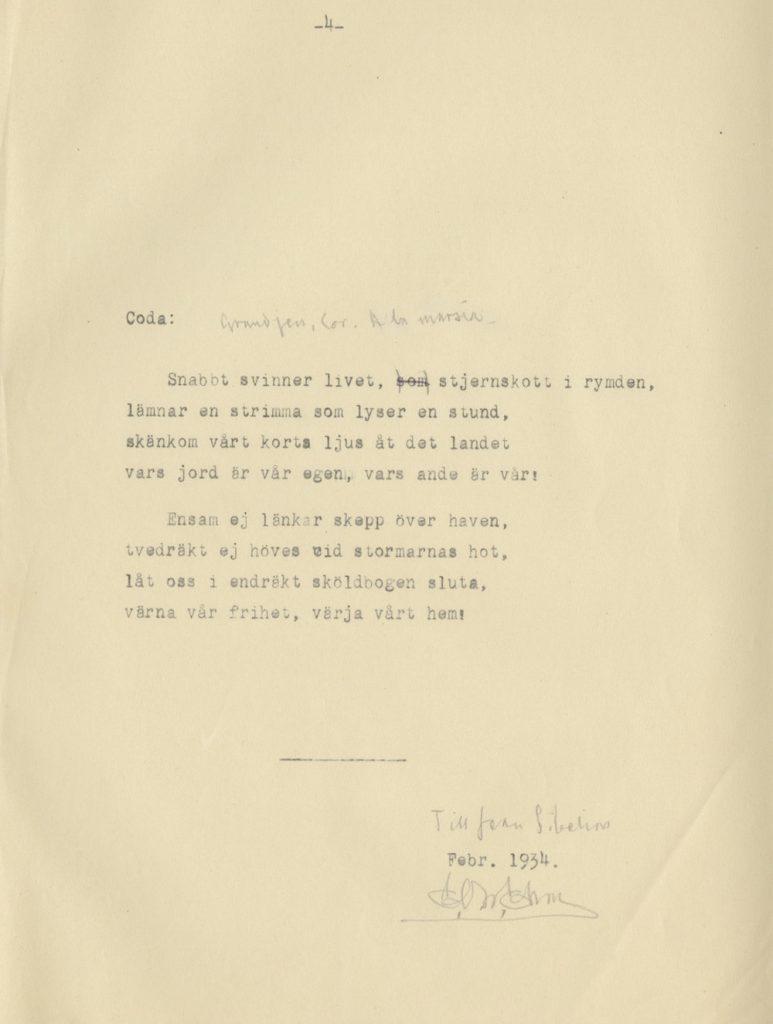 A cantata written by Eric O. W. Ehrström for Sibelius, 1934, Gösta Serlachius Fine Arts Foundation.