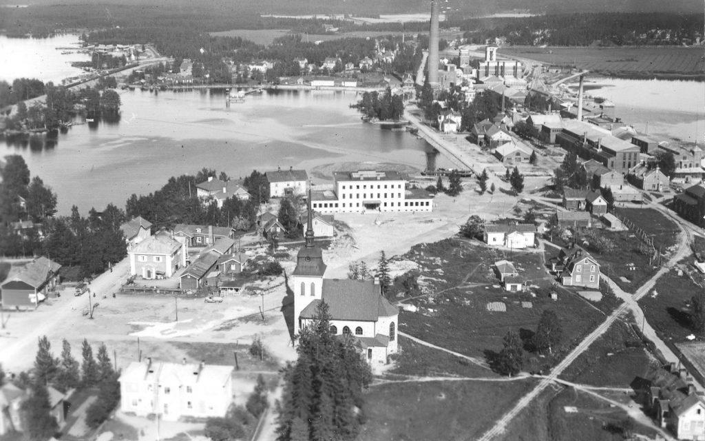 Kotiseutuni -aineistoa: Ilmavalokuva Mänttä 1935