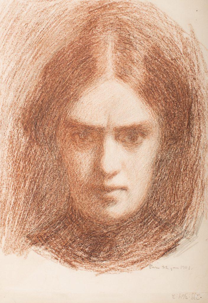 Olga Gummerus, Självporträtt, 1901, pastel på papper, Gösta Serlachius konststiftelse. Foto: Teemu Källi.