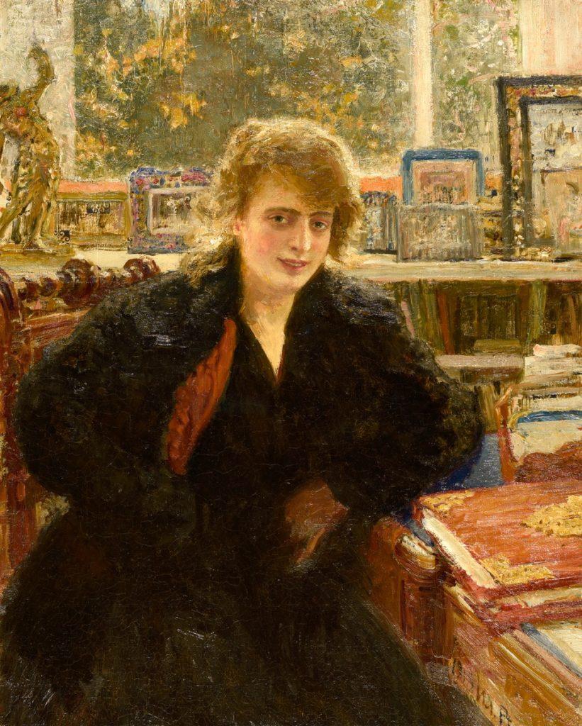 Ilja Repin, Porträtt av Fru Rivoir, 1918, olja på linoleum, Gösta Serlachius konststiftelse. Foto: Teemu Källi.