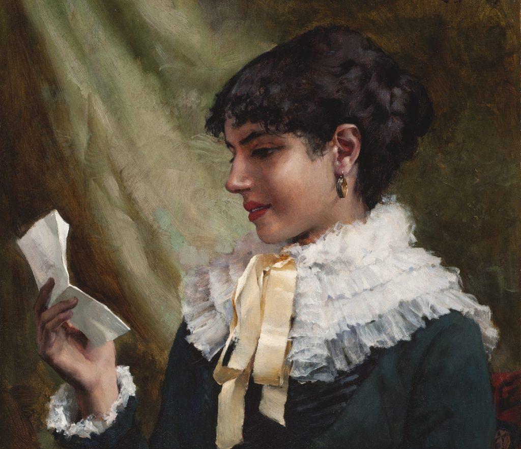 Albert Edelfelt, Ein Brief lesendes Mädchen, 1879, Öl aus Leinwand, Gösta Serlachius Kunststiftung. Foto: Vesa Aaltonen.