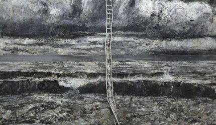 Anselm Kiefer, Am Anfang, 2008, öljyväri, emulsio, lyijy ja valokuvauspaperi kankaalle, Grothe-kokoelma. Kuva: Charles Duprat.