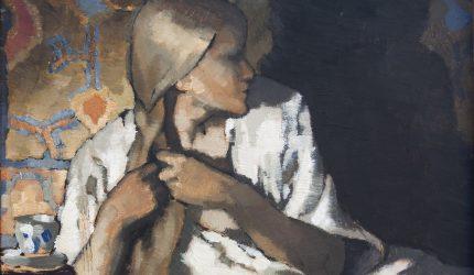 Ragnar Ungern, tukkaansa palmikoiva tyttö (osakuva), 1918, öljyväri pahville, Gösta Serlachiuksen taidesäätiö. Kuva: Yehia Eweis.