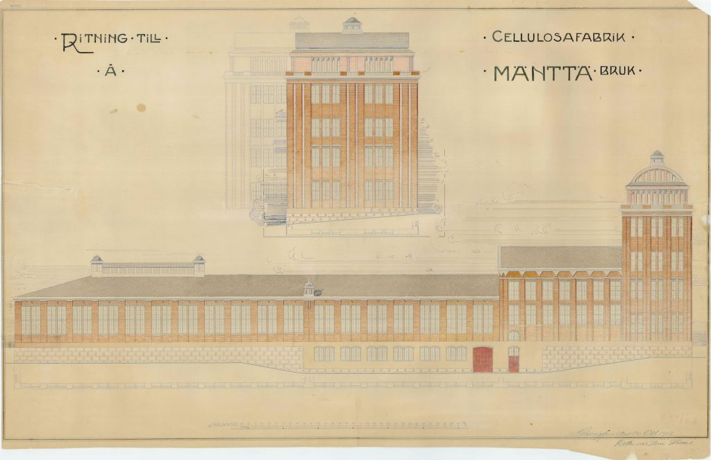 Facade drawing of Mänttä pulp mill 1913