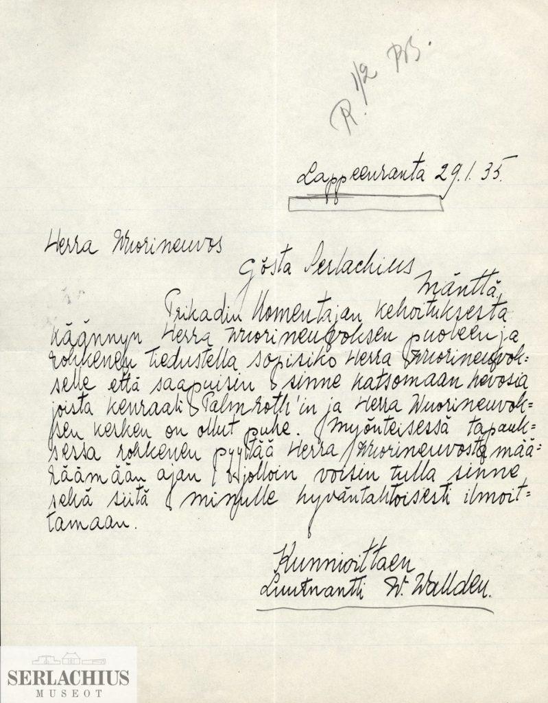Walldens brev till Gösta Serlachius för få en häst för Olympiaden.