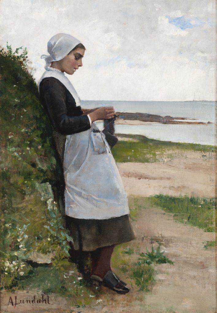 Amelie Lundahl Bretagnelainen tyttö (Sukkien kutoja), 1883, öljyväri kankaalle, Gösta Serlachiuksen taidesäätiö. Kuva: Vesa Aaltonen.