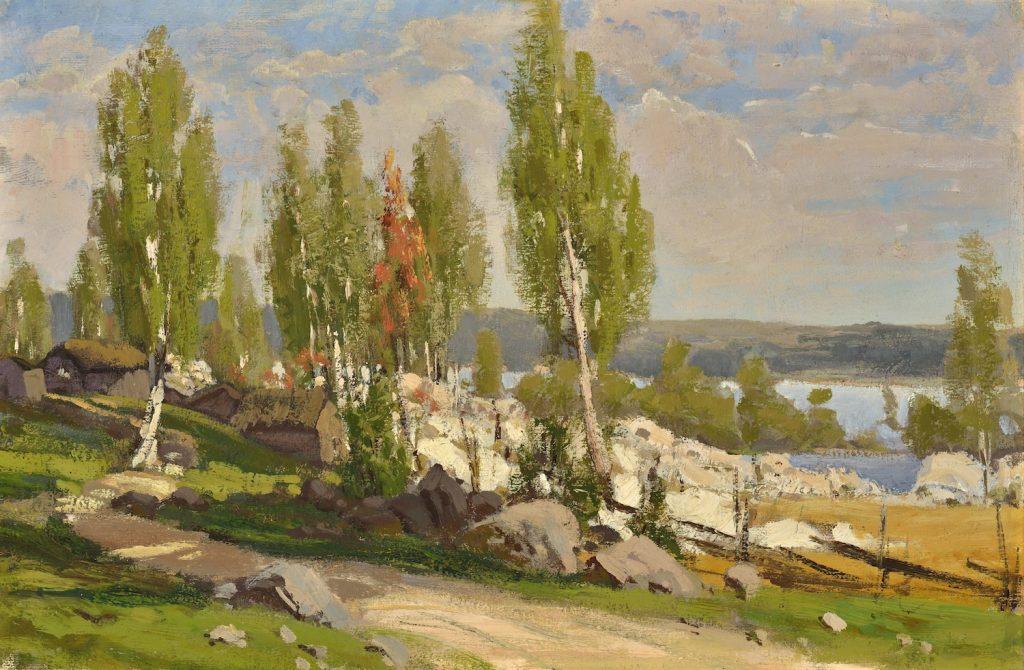 Fanny Churberg, Kaski, aihe Uudeltamaalta, harjoitelma, 1872, öljyväri kankaalle, Gösta Serlachiuksen taidesäätiö. Kuva: Hannu Miettinen.