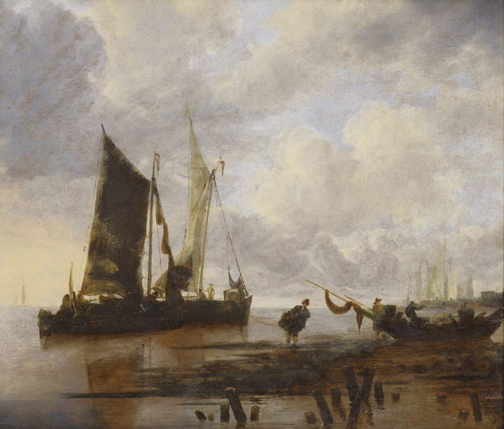 Jan van de Cappelle, Merimaisema kalastajaveneineen, 1600-luvun puoliväli, öljyväri puulle, Gösta Serlachiuksen taidesäätiö. Kuva: Jussi Koivunen.