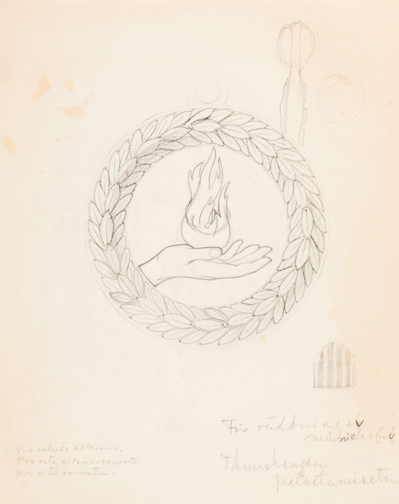 Eric O. W. Ehrström's sketch for a life saving medal. Gösta Serlachius Fine Arts Foundation.