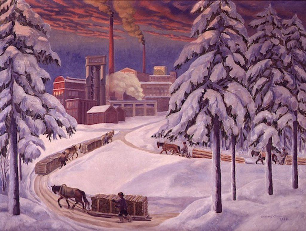 Marcus Collin: Tehdasnäkymä Mäntästä 1938. Gösta Serlachiuksen taidesäätiö. Kuva: Digitointi.