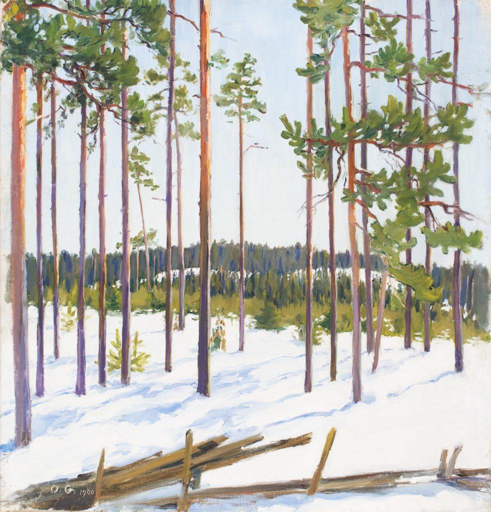Olga Gummerrus-Ehrström: Talvinen maisema. Gösta Serlachiuksen taidesäätiö. Kuva: Teemu Källi.