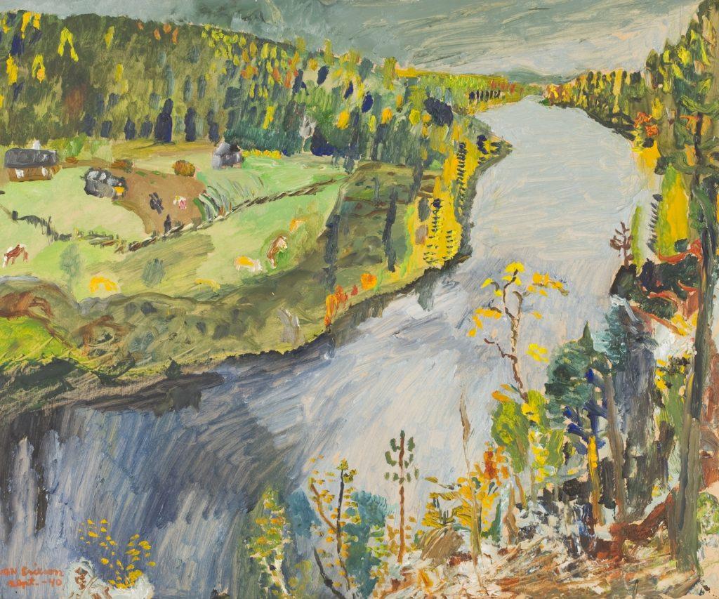 Sven Erixson: Maisema Huhkojärveltä 1940. Gösta Serlachiuksen taidesäätiö. Kuva: Timo Nieminen.