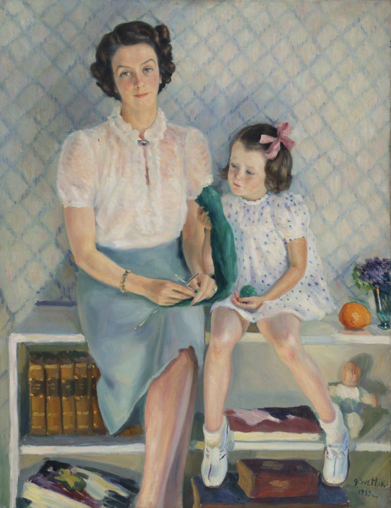 Georges von Swetlik, Greta Hornborg ja tytär Elisabeth, 1939, öljyväri kankaalle, Gösta Serlachiuksen Taidesäätiö. Kuva: Teemu Källi.