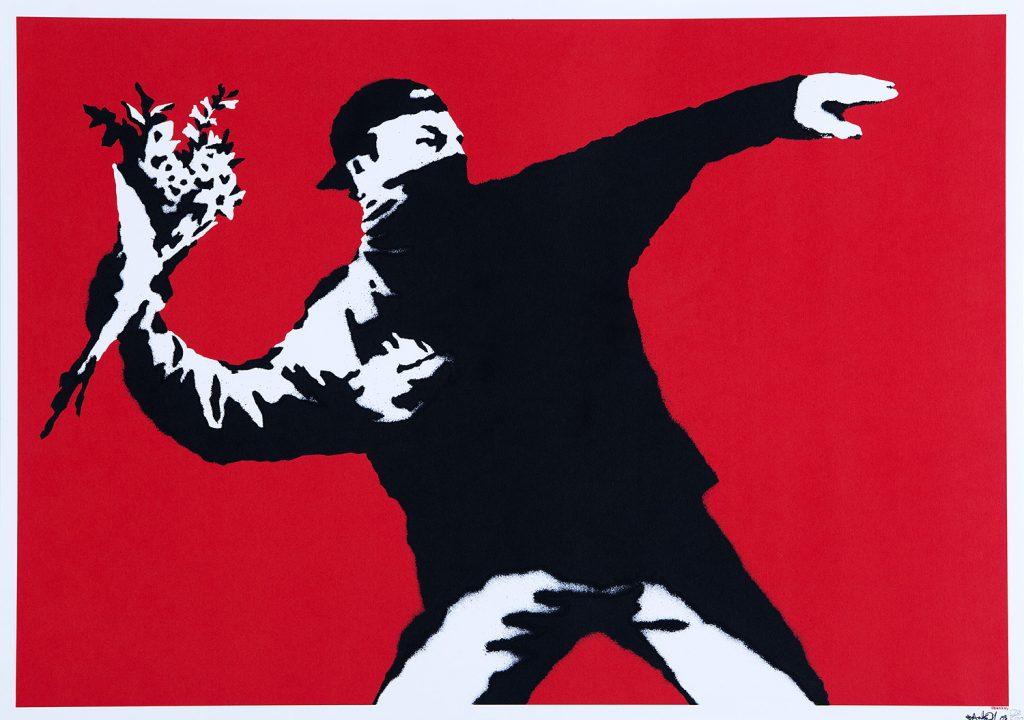 Banksy, Love Is in the Air, 2003, serigrafia, yksityiskokoelma. Kuva: 24 Ore Cultura.