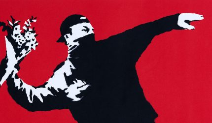 Banksy, Love Is in the Air, 2003, screen print on paper, private collection. Photo: 24 Ore Cultura.