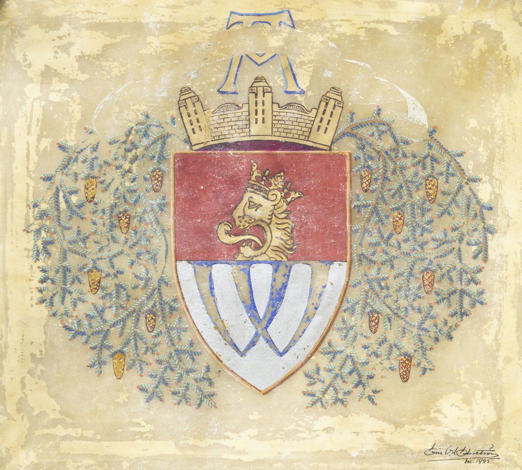 Pergamentista paljastui Eric O. W. Ehrströmin piirtämä A. Ahlströmin Varkauden tehtaiden vaakuna.