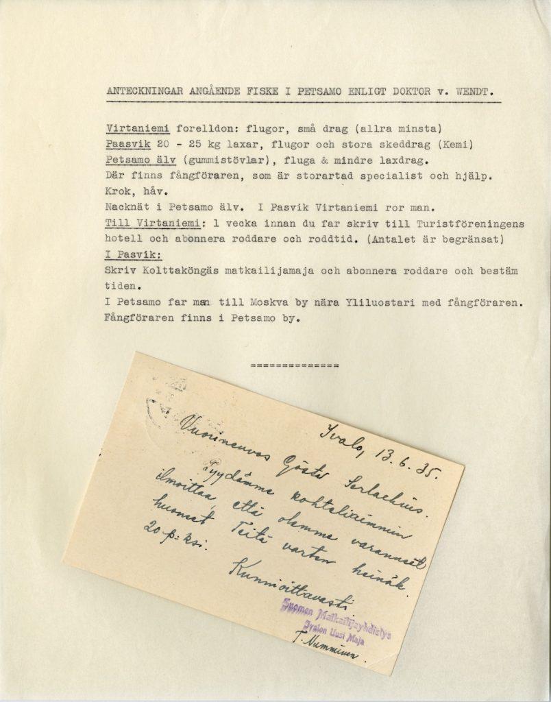 Göstan kirjeitä 1935