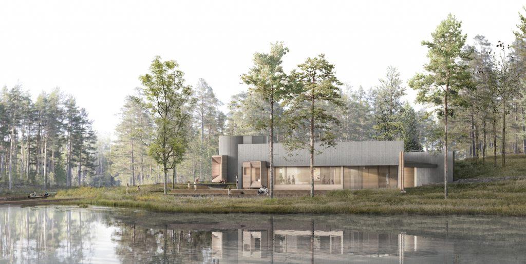 Taidesauna sijoittuu taidemuseo Göstan paviljongin taakse Melasjärven rantaan.