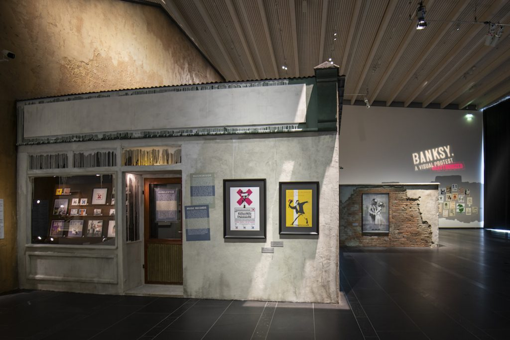 A view of the Serlachius Museums' exhibition Banksy. A Visual Protest. Photo: Sampo Linkoneva.