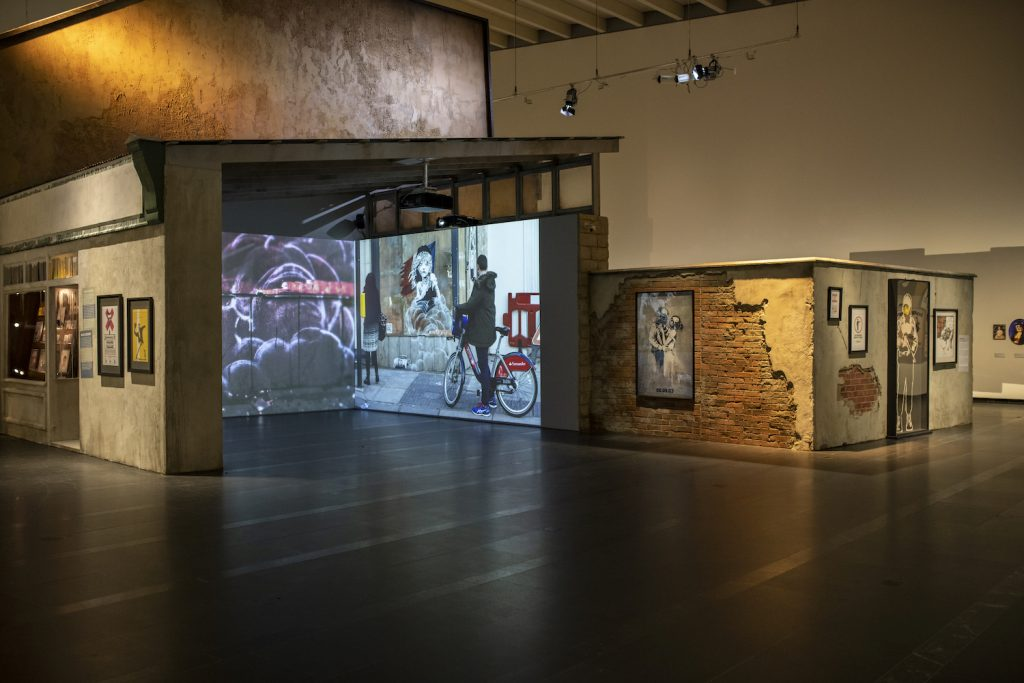 A view from the Serlachius Museums' exhibition Banksy. A Visual Protest. Photo: Sampo Linkoneva.